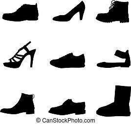 シルエット, 黒, 靴