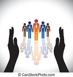 シルエット, concept-, 会社, secure(protect), 手, 従業員, 企業である, ∥あるいは∥, 経営者