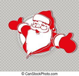 シルエット, santa, apart., クリスマス, claus, 手