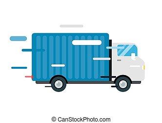 シルエット, truck., 配達用バン, サービス