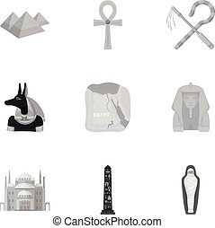 シンボル, ベクトル, コレクション, 大きい, モノクローム, style., アイコン, セット, 古代, イラスト, 株, エジプト