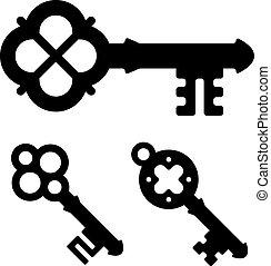 シンボル, ベクトル, 中世, キー