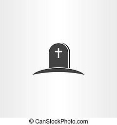 シンボル, ベクトル, 死, アイコン, 墓