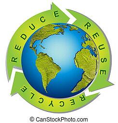 シンボル, リサイクル, -, 環境, きれいにしなさい, 概念