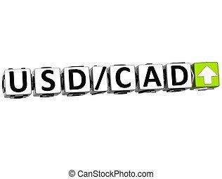 シンボル, レート, 通貨, 3d, usd, cad, 概念, ボタン