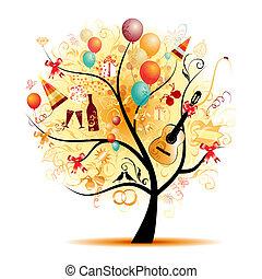 シンボル, 木, 幸せ, 祝福, 休日, 面白い