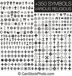 シンボル, 様々, 350, ベクトル, religio