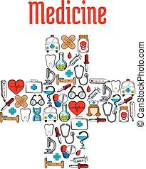 シンボル, 薬, 医学, 十字の 形