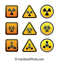 シンボル, 警告, セット, 放射, 危険