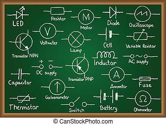 シンボル, 電気である, 黒板, 回路