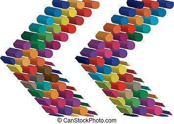 シンボル, 3次元である, カラフルである
