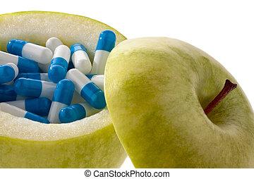 シンボル, capsules., タブレット, アップル, ビタミン