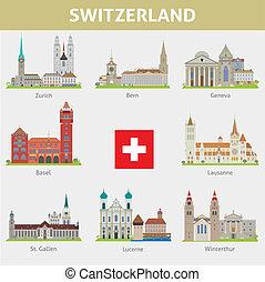 シンボル, switzerland., セット, cities., ベクトル