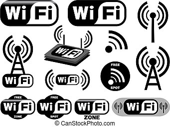 シンボル, wi - fi, ベクトル, コレクション