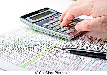シート, calculator., 税, ペン, 広がり, 形態