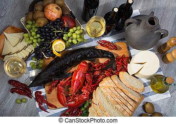 シーフード, チーズ, ワイン, 生活, まだ, bread, 料理