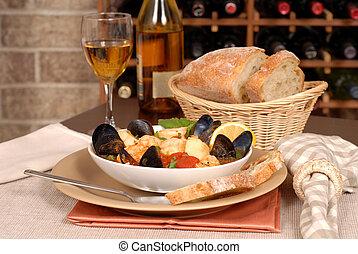 シーフード, ボール, 無作法, スープ, bread, ワイン