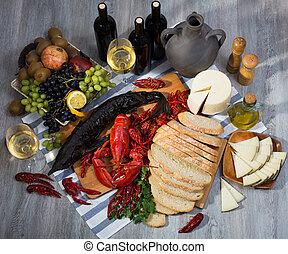 シーフード, bread, 料理, 静かな 生命, ワイン, チーズ