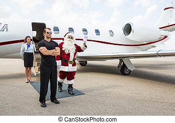 ジェット機, に対して, 手, 振ること, 私用, santa
