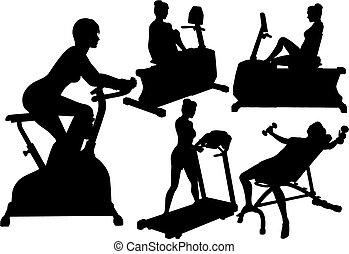 ジム, 女性, 試し, 練習, フィットネス
