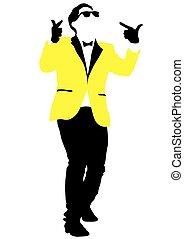 ジャケット, 黄色, 人