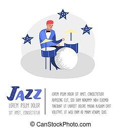 ジャズコンサート, 道具, banner., 特徴, 音楽家, イラスト, ベクトル, 音楽, ポスター, drummer., 芸術家, ミュージカル