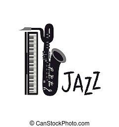 ジャズ, サクソフォーン, ラベル, アイコン
