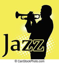 ジャズ, シルエット, jazzman, 音楽家, -, トランペット, 遊び
