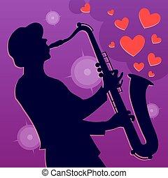 ジャズ, ロマンチック, 音楽家, player., イラスト, ベクトル, サクソフォーン, 背景, hearts., saxophonist