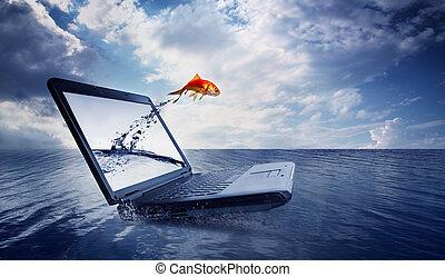 ジャンプ, 金魚, から, モニター, 海洋