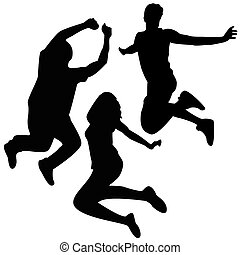 ジャンプ, silhouettes., 3, 友人, jumping.