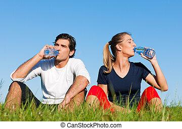 ジョガー, 休む, 恋人, 水, 飲むこと