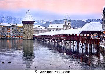 スイス, 教会, 夕方, ルツェルン, タワー橋, 水, 冬, jesuit, チャペル