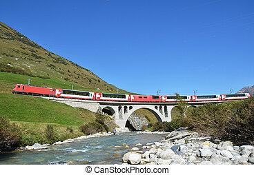 スイス, 渡ること, 列車, bridge.