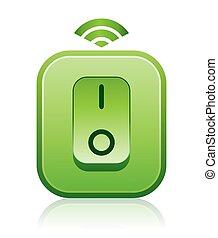 スイッチ, 無線, 明るい緑, リモート