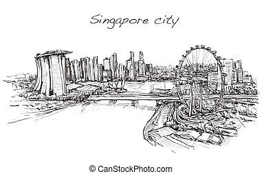 スカイライン, 無料で, イラスト, シンガポール市, スケッチ, ベクトル, scape, 手, ドロー