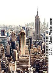スカイライン, 航空写真, マンハッタン, 光景