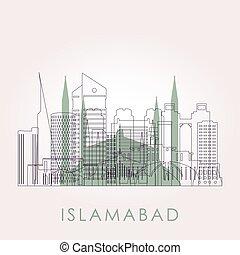 スカイライン, islamabad, landmarks., アウトライン