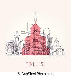 スカイライン, tbilisi, landmarks., アウトライン