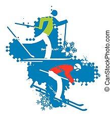 スキーヤー, 背景, グランジ