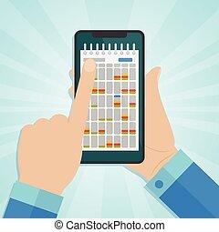 スクリーン, smartphone, カレンダー, 手を持つ