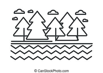 スケッチ, アウトライン, 木, 湖の 森林, 野生, 川, ∥あるいは∥, 風景