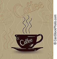スケッチ, カップ, seamless, 熱い コーヒー, 蒸気