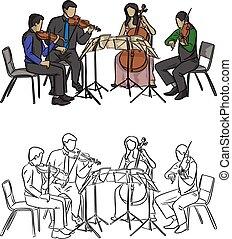 スケッチ, グループ, いたずら書き, ライン, 隔離された, イラスト, 手, ベクトル, 黒い背景, 音楽家, 引かれる, 白, 遊び, 四つ組