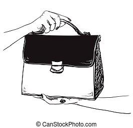 スケッチ, ファッション, bags., illustration., ベクトル
