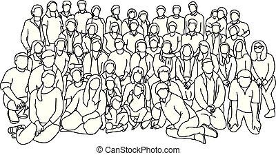 スケッチ, ベクトル, グループ, 人々, いたずら書き, ライン, 隔離された, イラスト, 手, バックグラウンド。, teamwork., 黒, 一緒に, 引かれる, 白