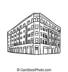 スケッチ, ベクトル, 現代, outline., イラスト, 引かれる, 白, バックグラウンド。, 黒, 建物, 手, いたずら書き, windows., 隔離された, 高く