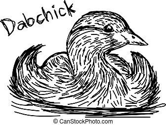 スケッチ, ライン, 隔離された, イラスト, 手, ベクトル, 黒い背景, 引かれる, 白, dabchick