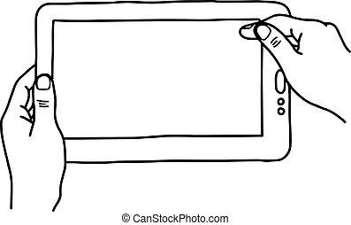 スケッチ, 保有物, タブレットの pc, デジタル, -, 隔離された, イラスト, 手, ライン, ベクトル, 黒い背景, 手, 引かれる, 白