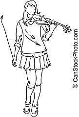 スケッチ, 女, いたずら書き, ライン, 隔離された, イラスト, 手, ベクトル, 黒い背景, バイオリン, 引かれる, 白, 遊び